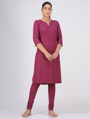 Magenta Sequined Knitted Cotton Kurta with Churidar(Set of 2)