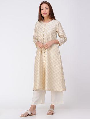 Beige Button-down Cotton Silk Kurta