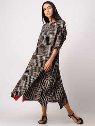 Black Block-printed Cotton Dress