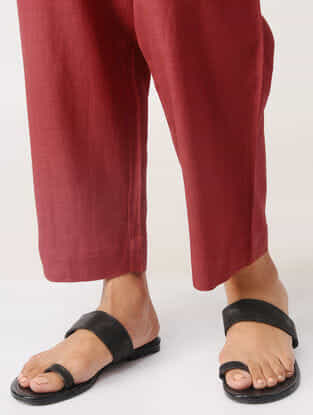 Maroon Elasticated Waist Cotton Pants