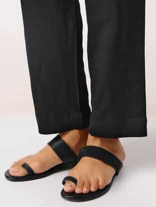 Black Elasticated Waist Cotton Pants