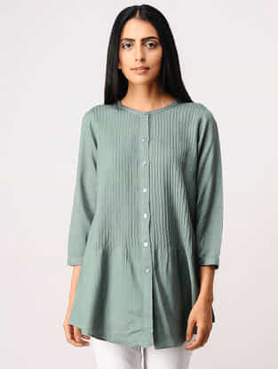 Green Pintuck Button-down Cotton Shirt
