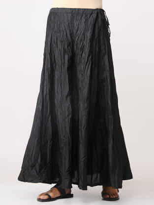 Black Crinkled Cotton Skirt