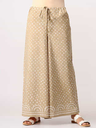 Beige Bandhni Cotton Pants