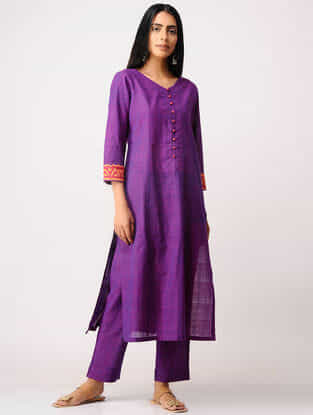 Purple Applique Work Mangalgiri Kurta with Pants (Set of 2)