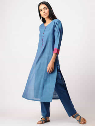 Blue Applique Work Mangalgiri Kurta with Pants (Set of 2)