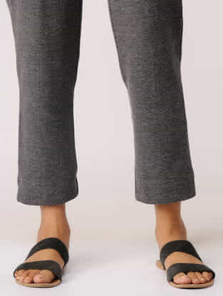 Grey Elasticated Waist Poly-cotton Crop Pants