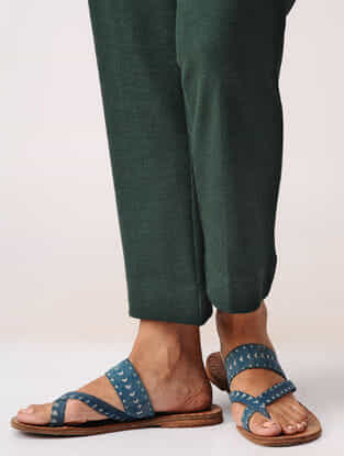 Green Elasticated Waist Poly-cotton Crop Pants