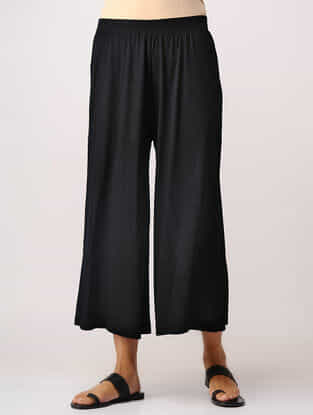 Black Elasticated Waist Cotton Culottes