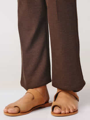 Brown Elasticated Waist Poly-cotton Pants