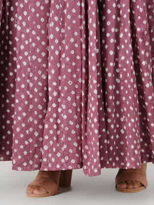 Purple Tie-up Waist Bandhani Cotton Skirt