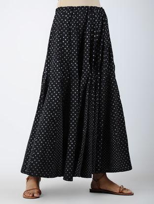 Black Printed Cotton Skirt