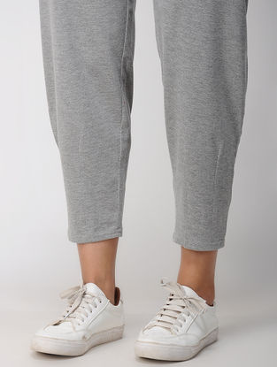 Grey Tie-up Waist Cotton Blend Knitted Pants