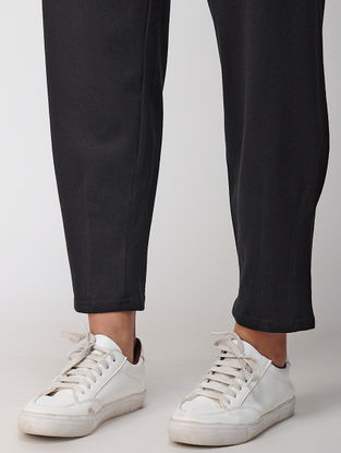 Black Tie-up Waist Cotton Blend Knitted Pants