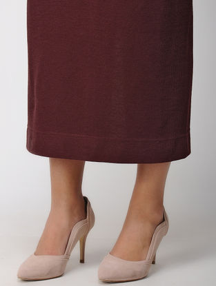 Maroon Elasticated Waist Poly Cotton Knitted Skirt