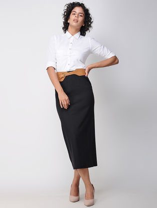 Black Elasticated Waist Poly Cotton Knitted Skirt