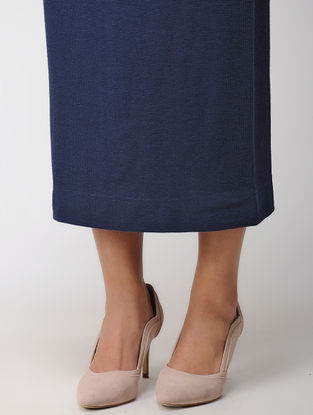 Navy Blue Elasticated Waist Poly Cotton Knitted Skirt