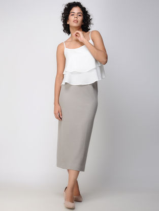 Grey Elasticated Waist Poly Cotton Knitted Skirt