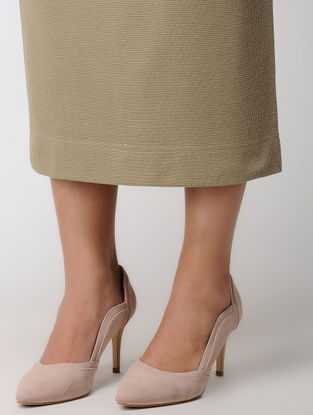 Khaki Elasticated Waist Poly Cotton Knitted Skirt