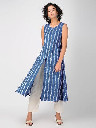 Blue Bandhani Cotton Kurta