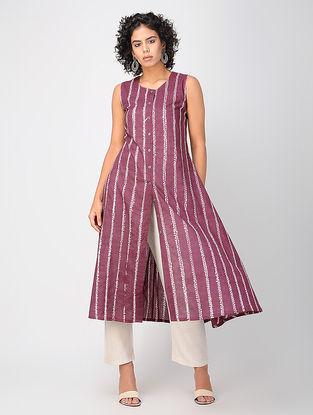 Mauve Bandhani Cotton Kurta
