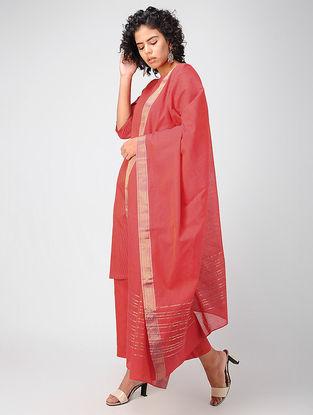 Red Pintuck Mangalgiri Kurta with Pants and Dupatta (Set of 3)