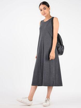 Grey Knitted Cotton Dress with Tikki Work