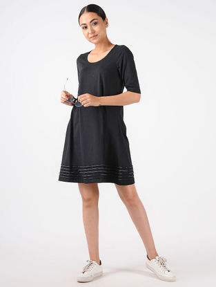 Black Knitted Cotton Dress