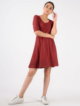 Red Knitted Cotton Dress