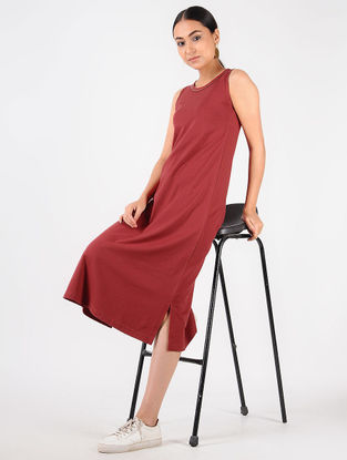 Red Knitted Cotton Dress with Tikki Work