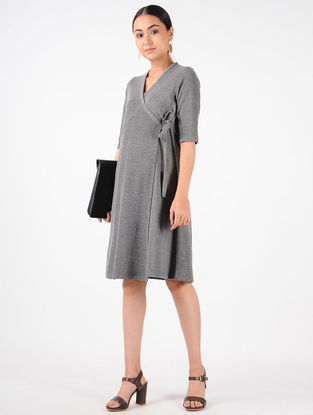 Grey Knitted Cotton Wrap Dress