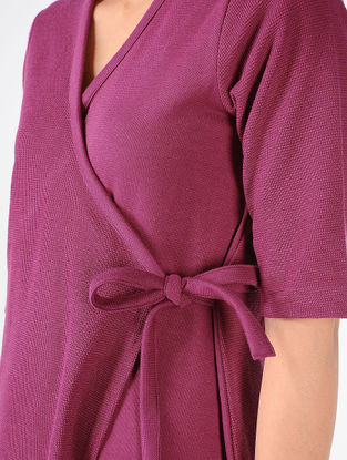 Magenta Knitted Cotton Wrap Dress