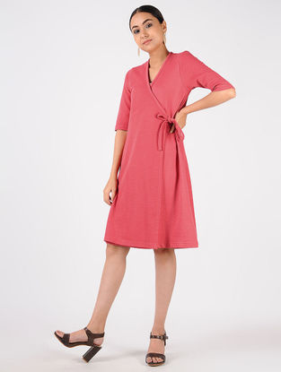 Pink Knitted Cotton Wrap Dress