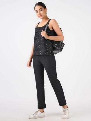 Black Knitted Cotton Top with Tikki Work