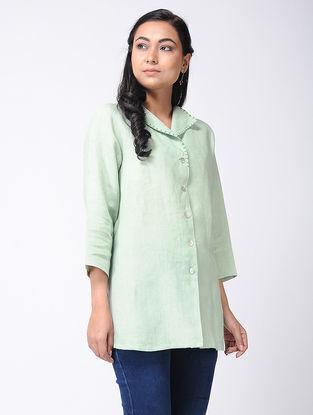 Green Linen Kurta with Thread Work