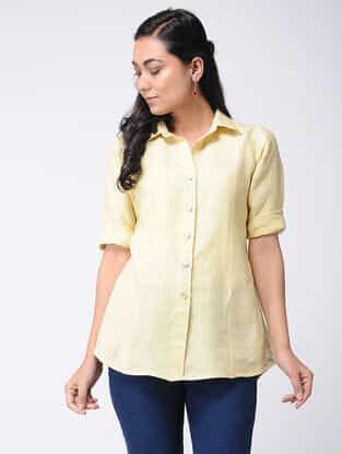Yellow Linen Kurta with Thread Work