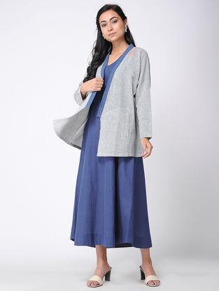 Ivory-Blue Cotton Jacket