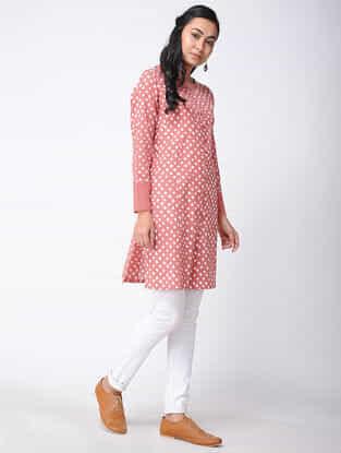 Peach Bandhani Cotton Kurta