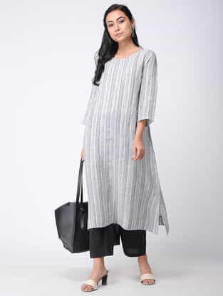 Grey Linen Kurta with Thread Work