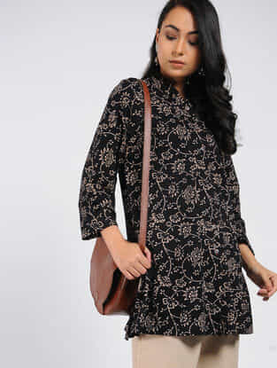 Black Block-printed Cotton Tunic