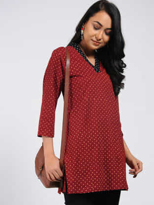 Maroon Block-printed Cotton Tunic