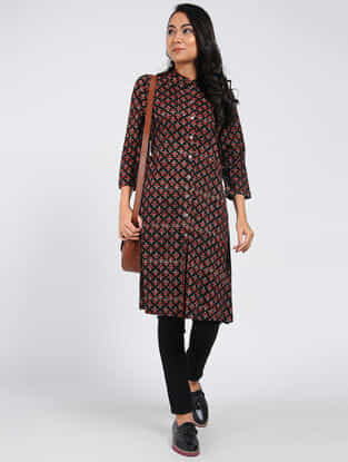Black-Red Block-printed Cotton Kurta