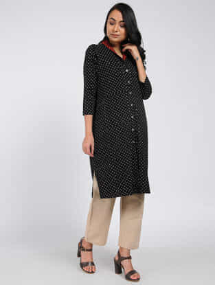 Black Block-printed Cotton Kurta