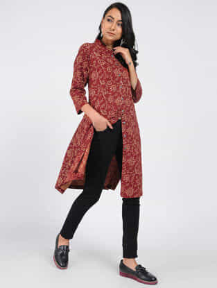 Maroon Block-printed Cotton Kurta