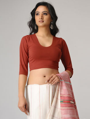Red Cotton Lycra Blouse