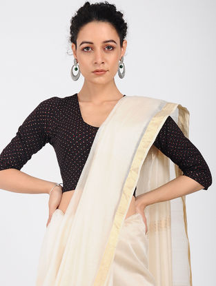 Black-Ivory Block-printed Cotton Lycra Blouse