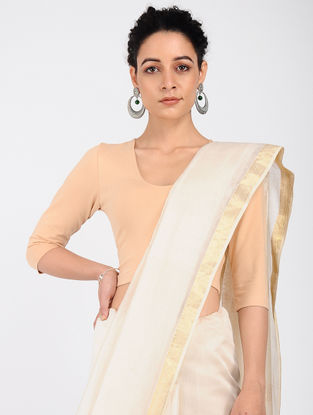 Beige Cotton Lycra Blouse