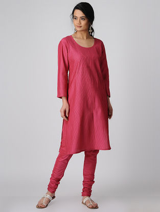 Pink Cotton Silk Kurta-Churidar with Mukaish Work (Set of 2)