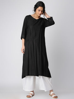 Black Silk Kurta with Mukaish Work