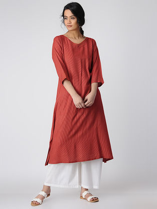 Red Silk Kurta with Mukaish Work